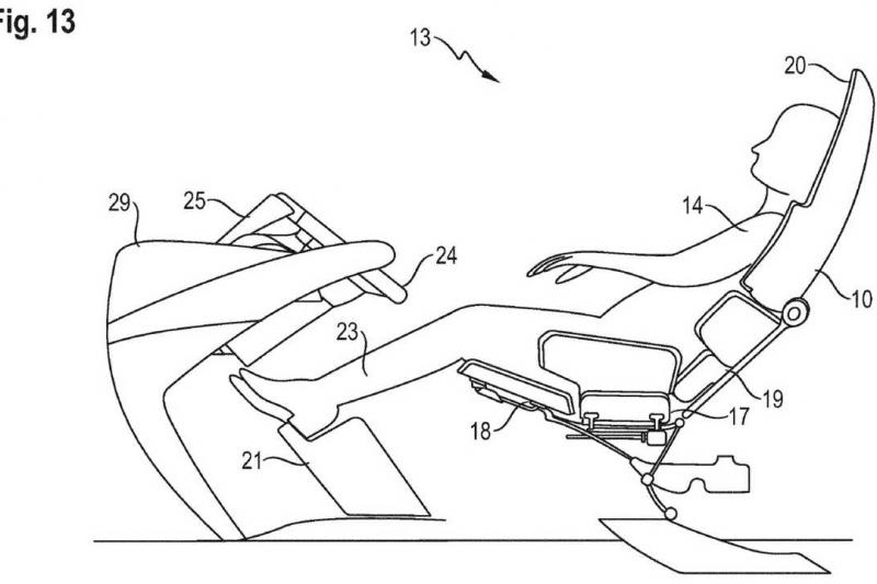 Na patente submetida pelo fabricante de automóveis desportivos, volante e pedais retrateis, para melhorar o espaço no habitáculo.
