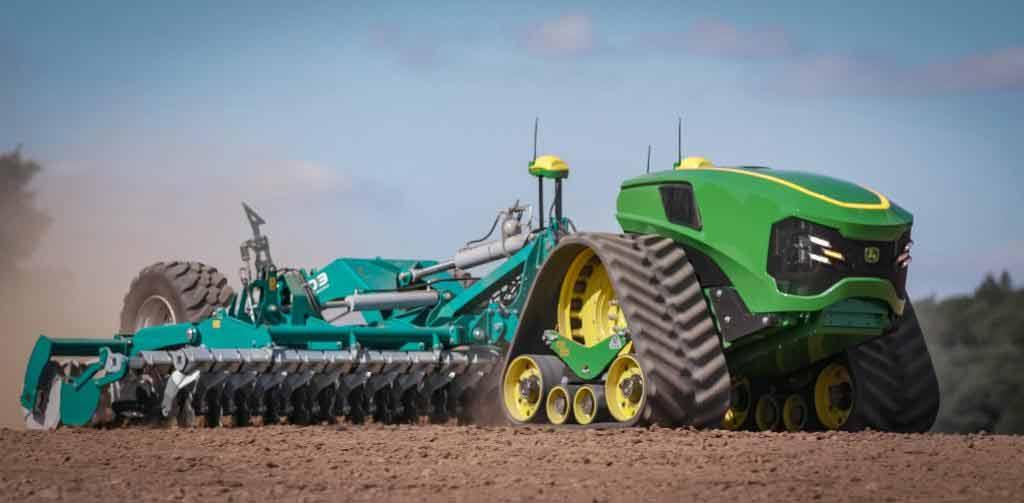 John Deere mostra trator elétrico autônomo em feira de tecnologia agrícola