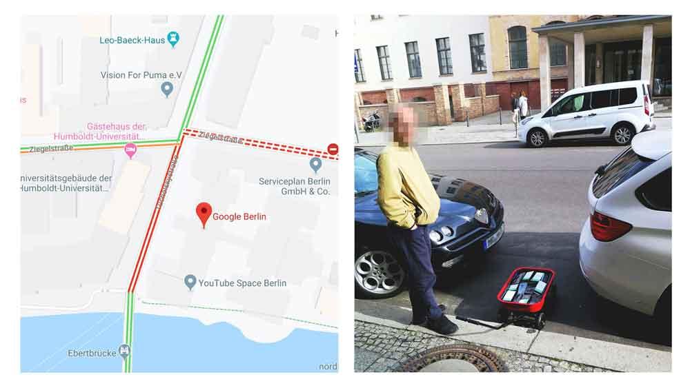 Weckert percorreu as ruas de Berlim com um carrinho cheio de smartphones