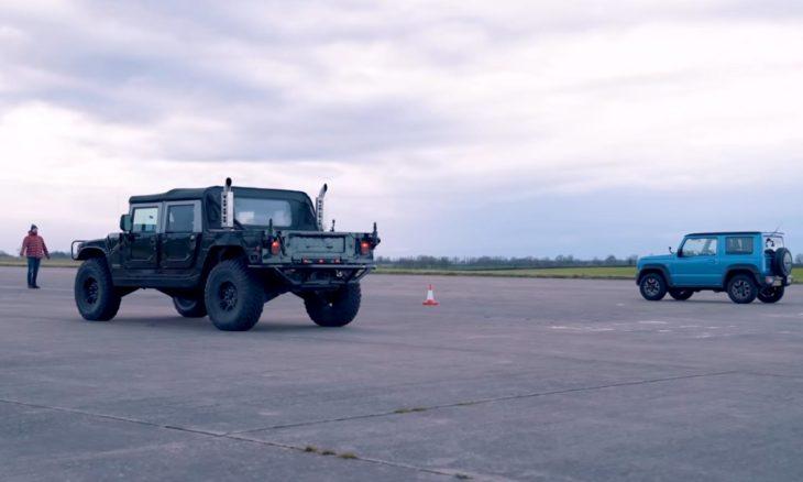 O pequeno Suzuki Jimny ou o gigantesco Hummer H1, qual o mais rápido?