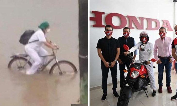 Enfermeira que atravessou enchente de bicicleta para trabalhar no hospital ganha moto
