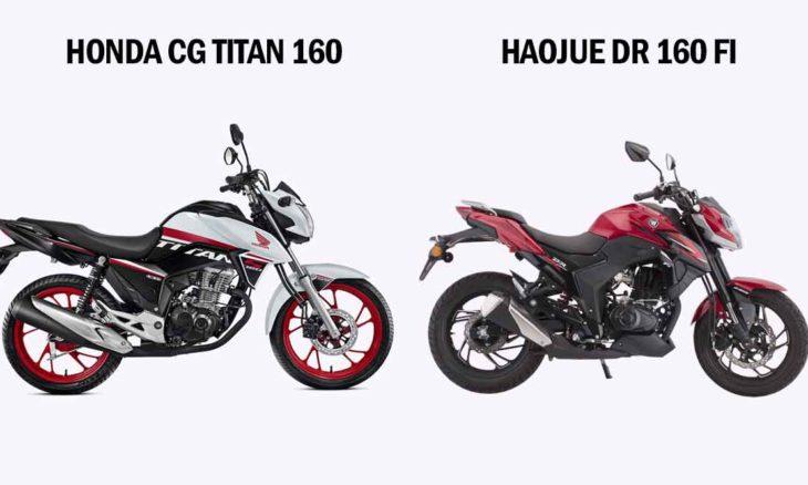Comparativo Honda CG Titan 160 x Haojue DR 160 FI. Foto: Divulgação