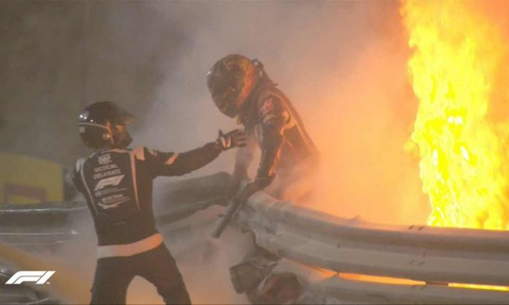 Grave acidente com Romain Grosjean interrompe GP do Bahrein de F1. Foto: reprodução Twitter
