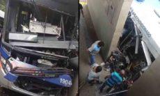Moradores registram vídeo de motorista que ficou preso as ferragens em acidente grave em Campinas. Foto: Reprodução Twitter