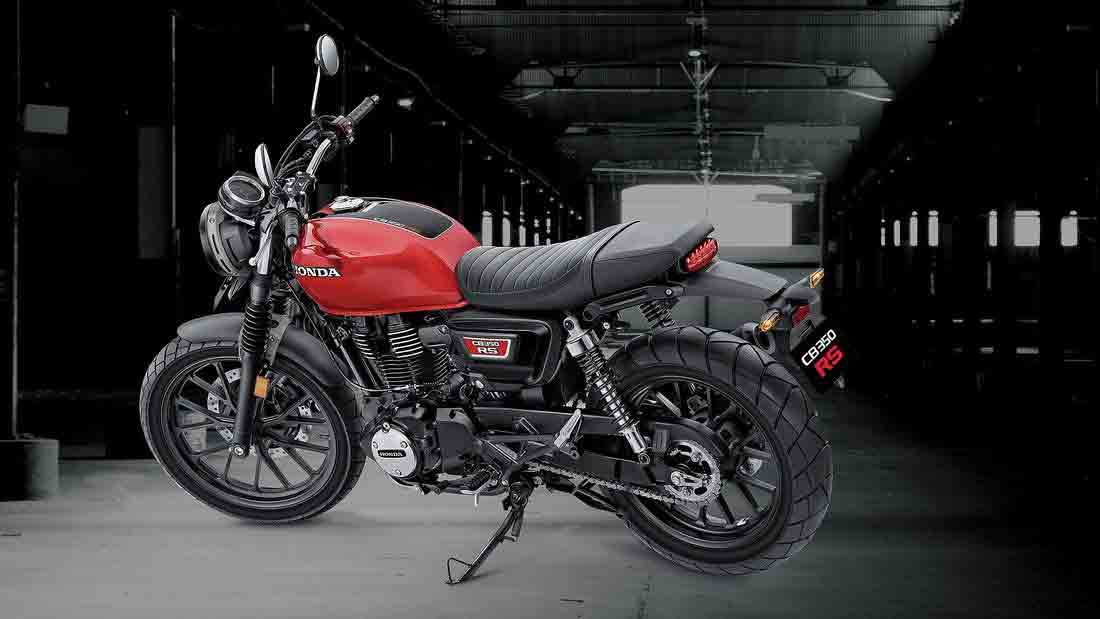 O nova Honda CB 350 RS está disponível em uma combinação de cores preto-amarelo e vermelho-preto. Foto: Divulgação