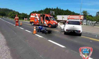 Vídeo: Motoqueiro é arremessado por cima de carro após batida em Três Coroas (RS). Foto: Reprodução Facebook