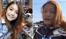 Influencer japonesa motociclista é na verdade um homem de 50 anos. Foto: reprodução Twitter