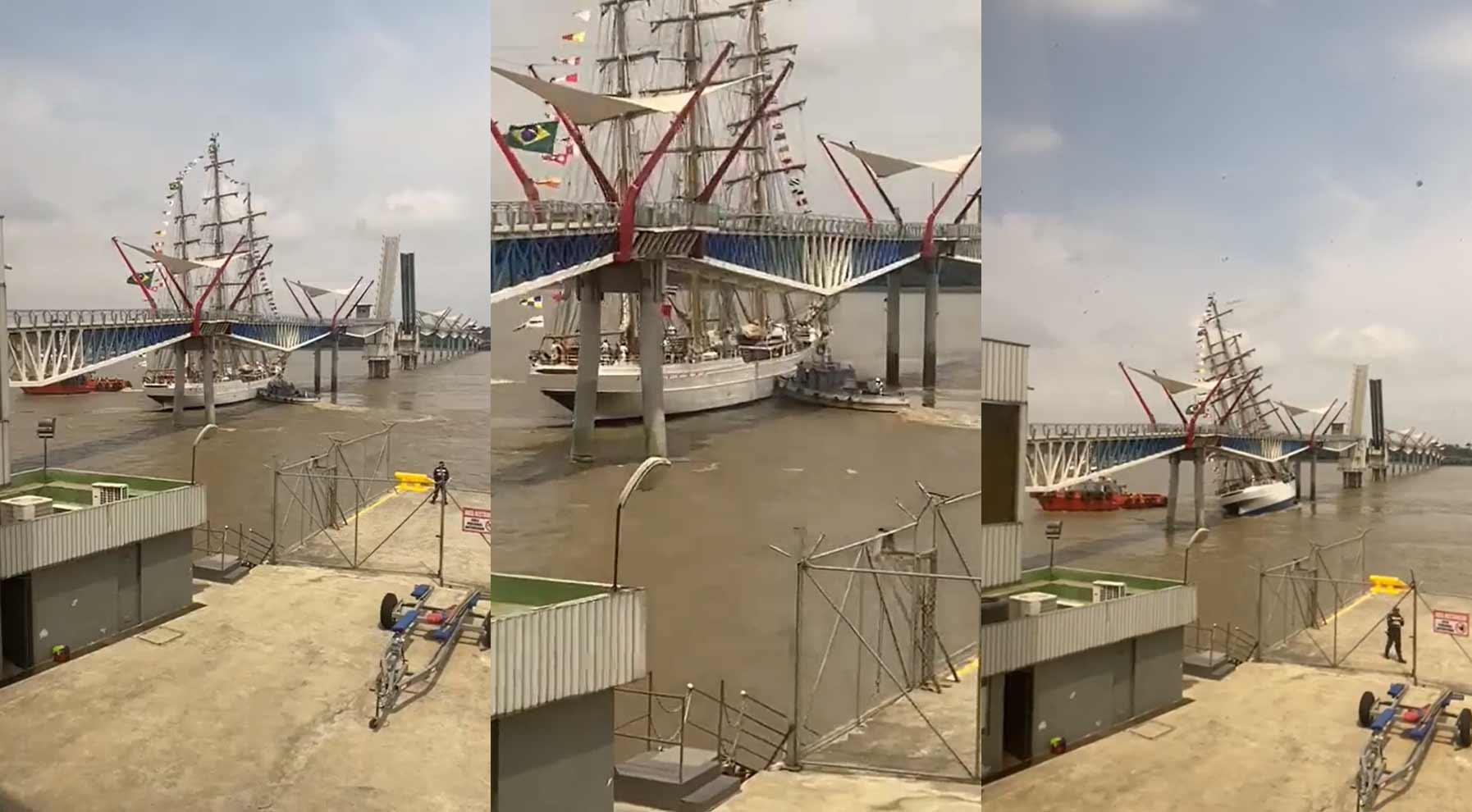Navio-veleiro Cisne-Branco da Marinha se choca contra ponte no Equador. Foto: Reprodução Twitter